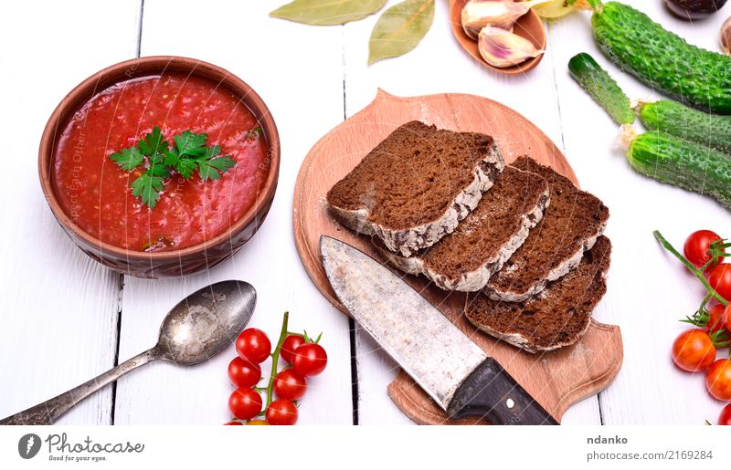 Gazpacho spanish cold soup Vegetable Bread Soup Stew Herbs and spices Nutrition Lunch Dinner Vegetarian diet Diet Plate Table Kitchen Wood Fat Fresh Delicious