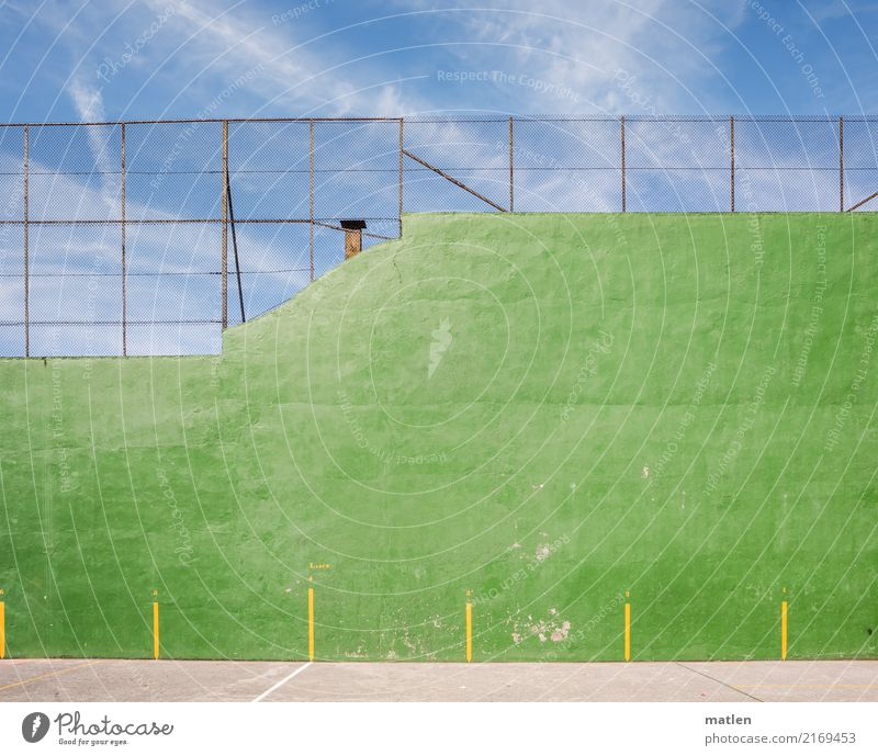Sky Blue Green Clouds Yellow Sports Wall (barrier) Fence Ball sports Sporting Complex Marker line