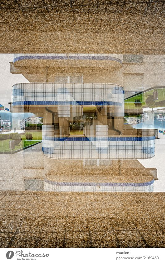 high up Town House (Residential Structure) High-rise Architecture Facade Balcony Blue Brown Green White Double exposure Story Colour photo Exterior shot