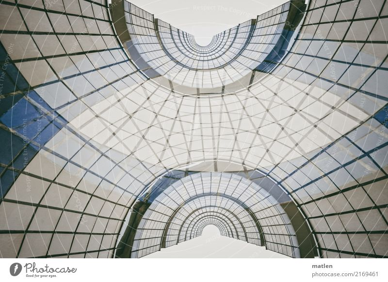with verve Deserted High-rise Architecture Stairs Facade Window Round Blue Brown Gray White Double exposure Staircase (Hallway) Rotation Subdued colour