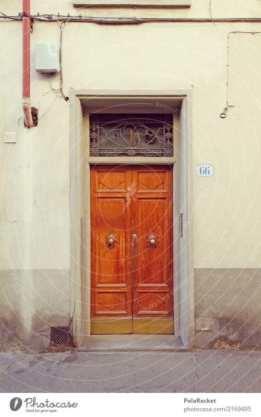 #A# Door 66 Art Esthetic Facade Route 66 Mediterranean Wooden door Florence Italy Colour photo Subdued colour Exterior shot Detail Experimental