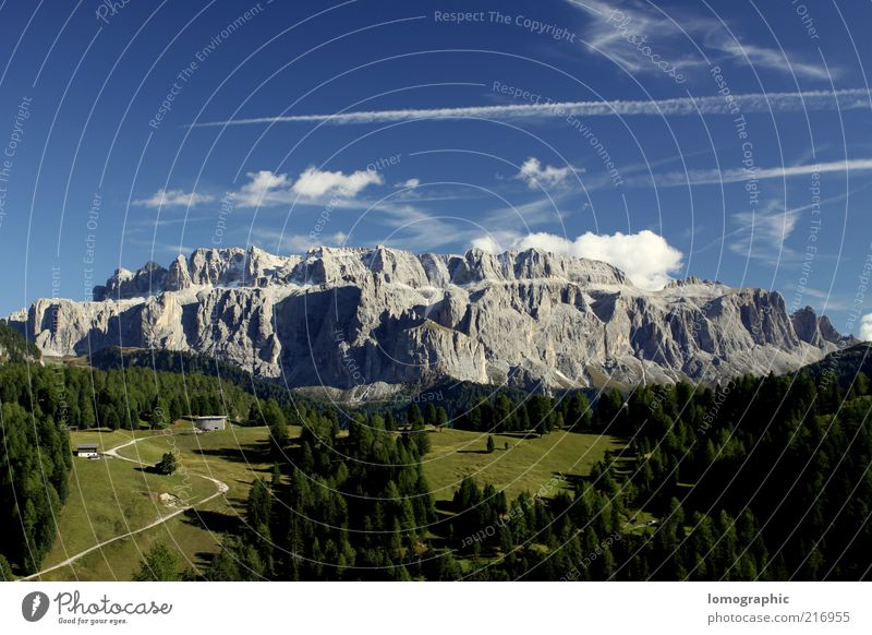 Sky Nature Summer Vacation & Travel Clouds Far-off places Freedom Mountain Landscape Environment Spring Rock Alps Peak Fir tree