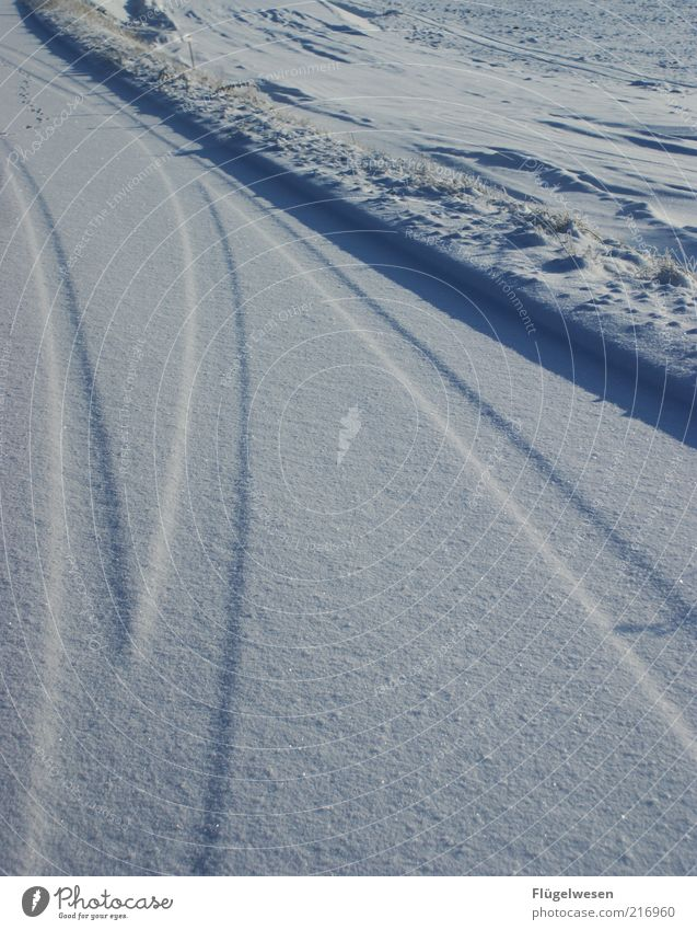 Nature Winter Street Cold Snow Landscape Ice Environment Frost Climate Tracks Beautiful weather Snowscape Climate change Roadside Skid marks