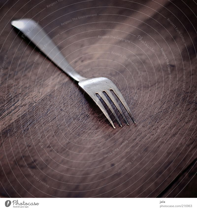 silver plate Cutlery Fork Wood Metal Esthetic Brown Silver Colour photo Interior shot Deserted Copy Space top Copy Space bottom Neutral Background Reflection
