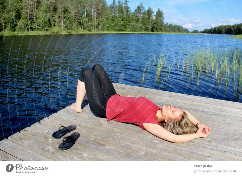 Young beautiful woman enjoy the nature of Finland, Karelia Woman Nature Vacation & Travel Youth (Young adults) Summer Beautiful Tree Landscape Relaxation Forest