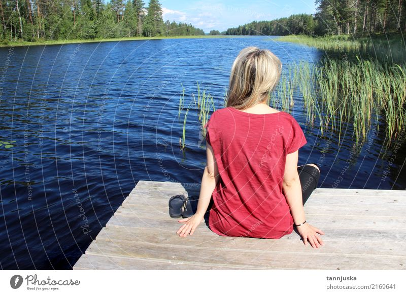 Young woman sitting near lake in Karelia, Finland Human being Woman Nature Vacation & Travel Youth (Young adults) Summer Beautiful Water Tree Landscape