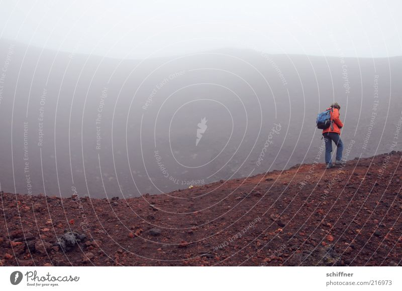 crater rim Clouds Bad weather Fog Volcano Threat Gloomy Fear Dangerous Volcanic crater Volcanic island Iceland Hiking Going Dark Sadness Loneliness Abstract