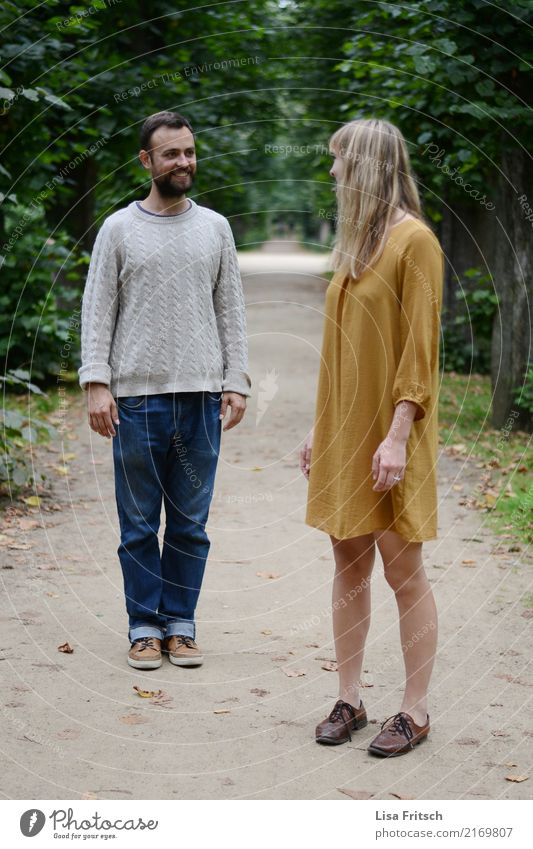 well Young woman Youth (Young adults) Young man Couple Partner 2 Human being 18 - 30 years Adults Summer Autumn Tree Park Lanes & trails Jeans Dress Sweater