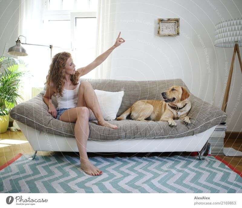 groundbreaking Joy Happy Beautiful Harmonious Flat (apartment) Sofa Living room Zigzag Young woman Youth (Young adults) Legs 18 - 30 years Adults Hot pants