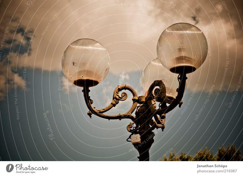 Sky Old Blue Clouds Above Metal Lamp Bright Brown Glass Elegant Esthetic Broken Europe Illuminate Historic