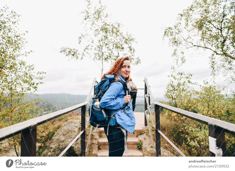 Saxon Switzerland Lifestyle Fitness Vacation & Travel Trip Far-off places Freedom Summer Mountain Hiking Feminine Young woman Youth (Young adults) 1 Human being
