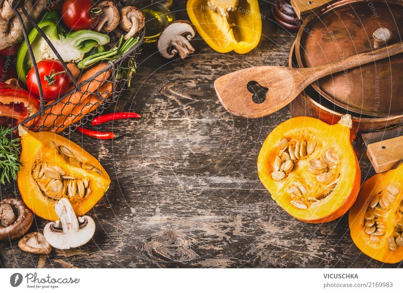 Pumpkin, pot and vegetarian ingredients Food Vegetable Herbs and spices Nutrition Dinner Banquet Organic produce Vegetarian diet Diet Pot Spoon Style Design