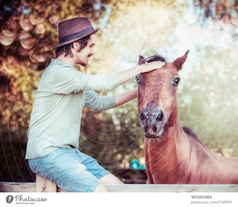 Human being Nature Youth (Young adults) Young man Animal Lifestyle Autumn Emotions Moody Together Friendship Masculine Beautiful weather Horse Trust Grinning