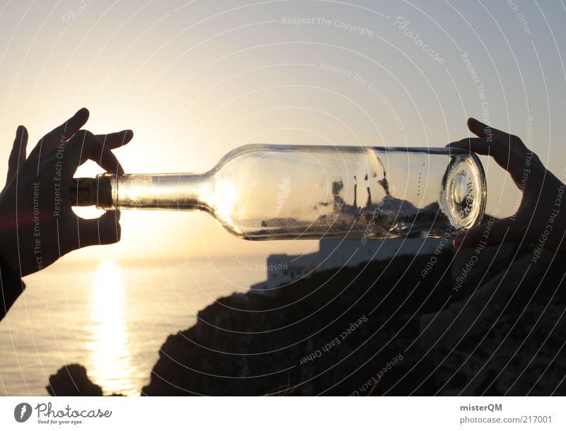 Ship in a bottle. Art Adventure Esthetic Bottle Message in a bottle Bottle bottom Watercraft Miniature Exceptional Modern Deception Perspective Distorted False