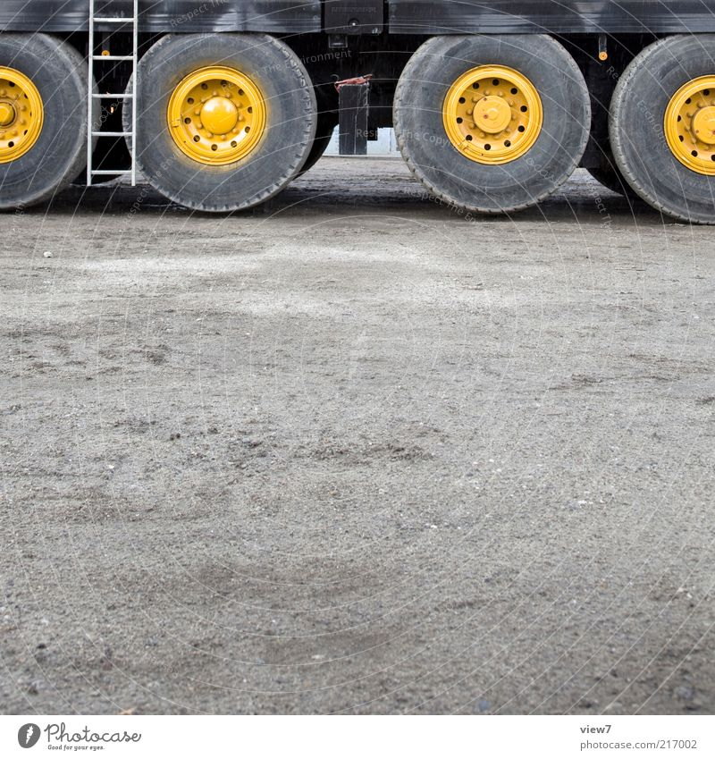 Yellow Large Transport Tall Perspective Arrangement Authentic Construction site Truck Strong Wheel Machinery Many Tire Ladder Vehicle