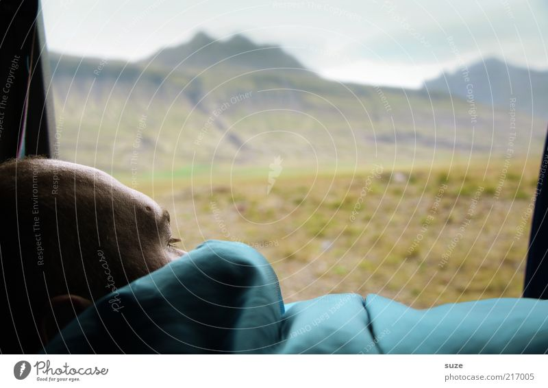 Half past nine in the morning Human being Masculine Man Adults Head 1 Environment Nature Landscape Weather Meadow Mountain To enjoy Looking Iceland Wake up