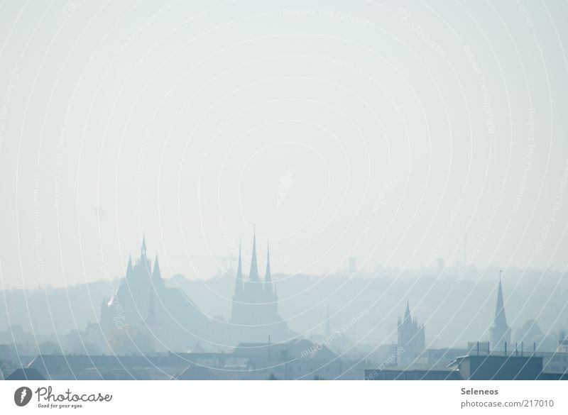 in the fog Vacation & Travel Tourism Trip Sightseeing City trip Weather Fog Erfurt Thuringia Town Capital city Old town Church Dome Historic Belief