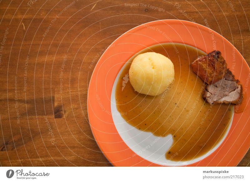 roast pork with dumpling Food Meat Potatoes dumplings Bavarian Specialities Gourmet Gastronomy restaurant Inn Roast pork Nutrition Lunch Dinner Banquet