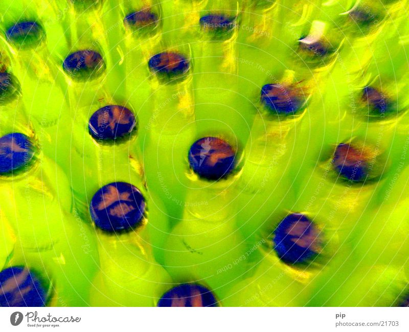 through the glasses of the promille Multiple Alcoholic drinks Pattern Multicoloured Green Yellow Greeny-yellow Blue Alcohol-fueled Obscure Colour Bottle Many