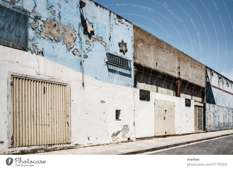 industrial estate Town Deserted House (Residential Structure) Building Wall (barrier) Wall (building) Facade Window Door Old Gloomy Blue Brown Gray White