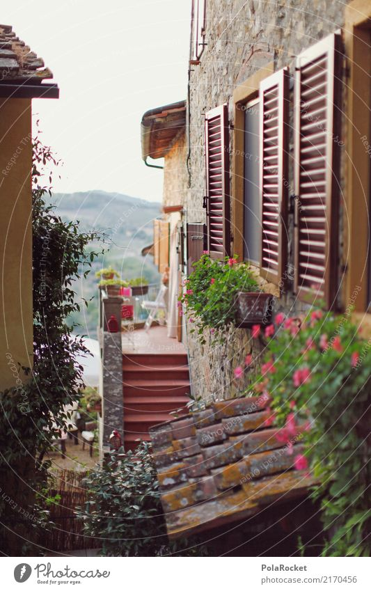 #A# Window front Village Small Town Old town Esthetic Facade Italy Alley Mediterranean Colour photo Subdued colour Exterior shot Abstract Deserted