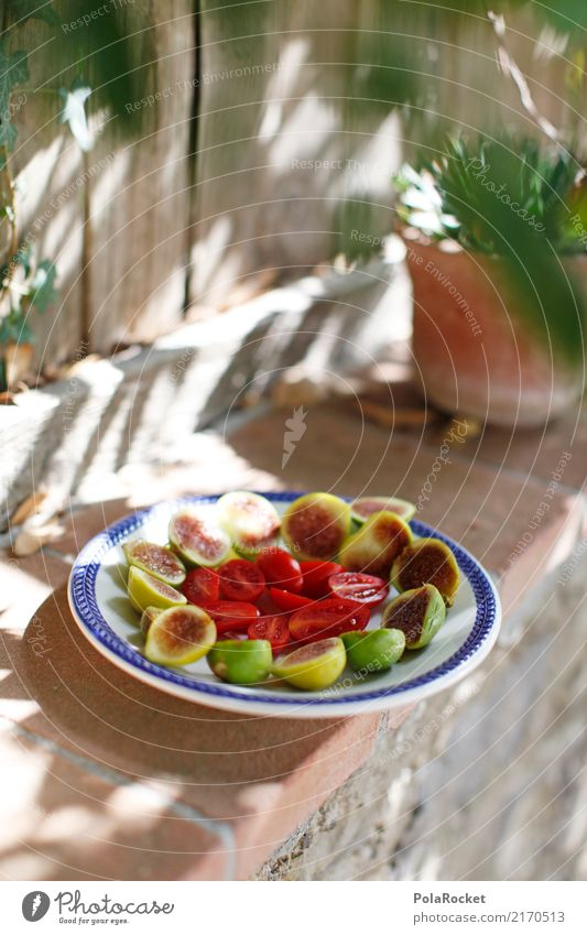 #A# Snack for lunch Art Esthetic Plate Lunch hour Snackbar Sunbeam Shadow play Wall (barrier) Mediterranean Fig Tomato Colour photo Multicoloured Exterior shot