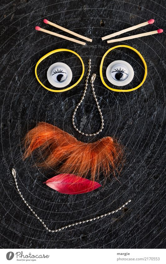 emotions...cool faces: collage of the moustache with chains and matches Human being Masculine Man Adults Face Eyes 1 Orange Black Emotions Moody Wisdom Fatigue