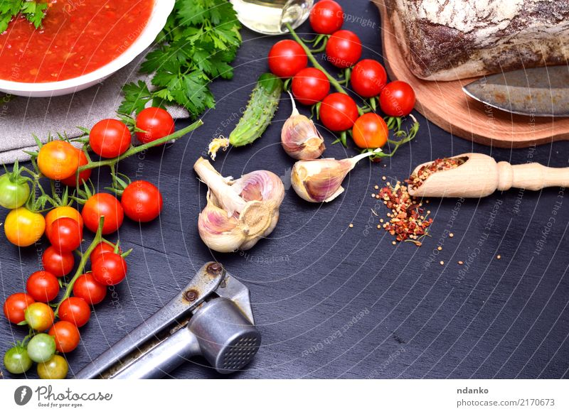 Gazpacho spanish cold soup Vegetable Bread Soup Stew Herbs and spices Nutrition Lunch Dinner Vegetarian diet Diet Plate Spoon Summer Table Kitchen Wood Fat