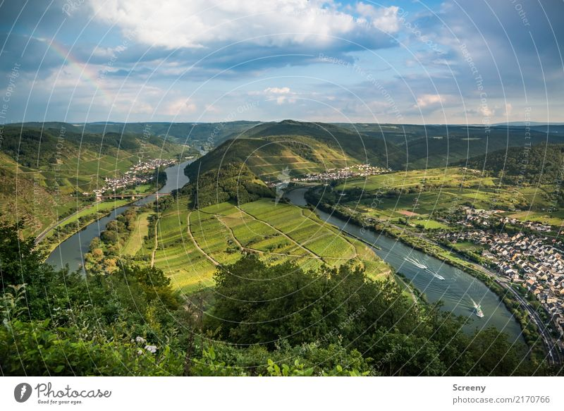 At the Mosel #2 - with rainbow Vacation & Travel Tourism Trip Sightseeing Nature Landscape Plant Air Water Sky Clouds Sun Summer Beautiful weather Hill