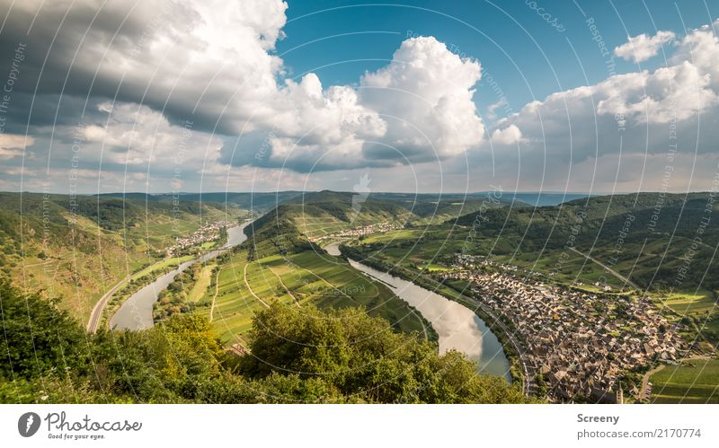 Sky Nature Vacation & Travel Plant Summer Town Water Landscape Clouds Tourism Trip Beautiful weather River Hill River bank Navigation