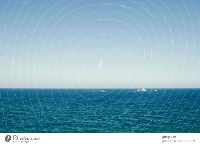 where the ocean meets the sky Environment Nature Elements Water Sky Cloudless sky Horizon Waves Ocean Navigation Blue Infinity Earth Large Far-off places