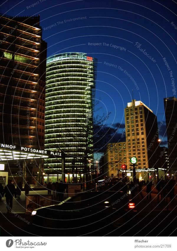 Potsdamer Square/Berlin Potsdamer Platz Places Night Dark Light Railroad Commuter trains High-rise Architecture Human being db Modern Evening