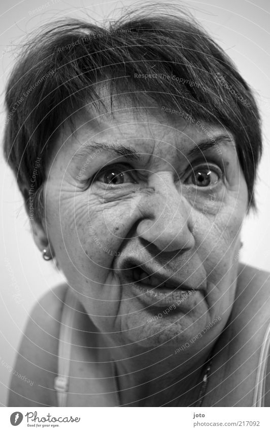 Woman Face Adults Eyes Senior citizen Funny Crazy Lips Wrinkle Grandmother 45 - 60 years 60 years and older Facial expression Grimace Humor Gesture