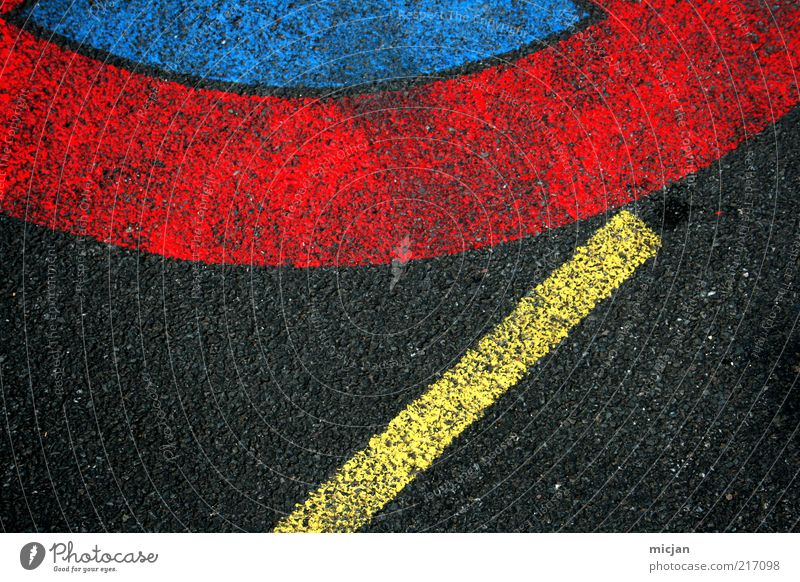 Fuse | A Sudden Meeting On A Certain Day Colour Safety Floor covering Street Asphalt Red Blue Yellow Black Contrast Bans Prohibition sign Signs and labeling