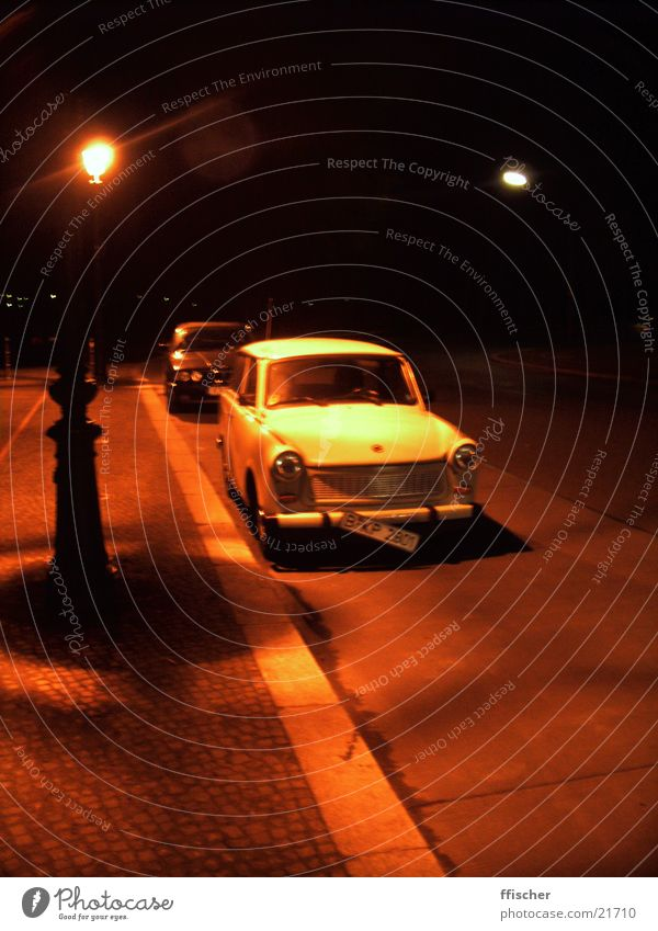 Trabbi at night Night Light Red Number plate Blur Transport red light Street Berlin