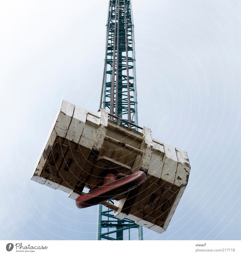heavy filigree Construction site Metal Large Tall Above Perspective Emphasis Crane Checkmark Autocran crane hook Weight Heavy lattice mast Colour photo