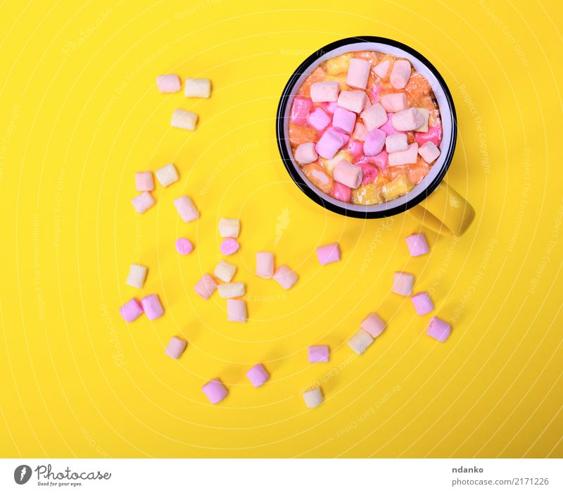 ocoa drink in a yellow mug Dessert Beverage Hot drink Hot Chocolate Cup Delicious Above Yellow Pink Marshmallow Slice Top sweet food Aromatic background