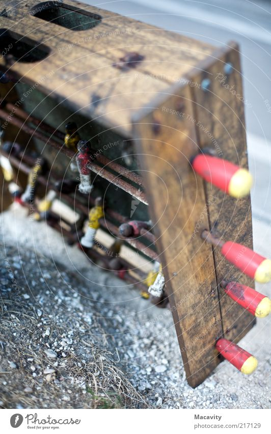 Old Wood Dirty Broken End Leisure and hobbies Transience Derelict Decline Shabby Partially visible Section of image Table soccer Detail Expired Defective
