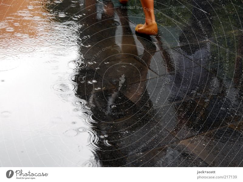 Human being Water Black Movement Lanes & trails Time Stone Going Feet Rain Footwear Walking Perspective Drops of water Places Wet