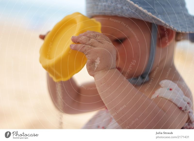Human being Vacation & Travel Blue Summer Calm Beach Warmth Yellow Time Sand Infancy Beautiful weather Baby Cute Curiosity To hold on