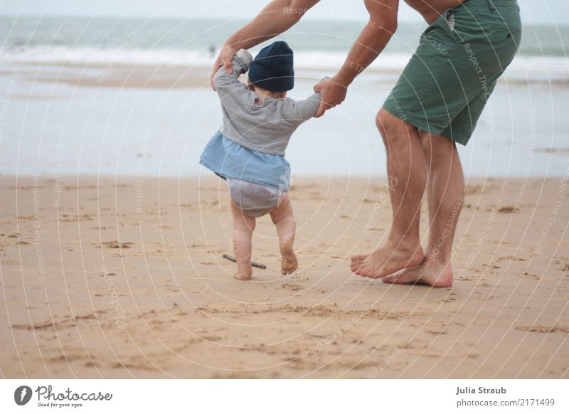 Father runs with child on the beach the first steps Toddler Girl Man Adults 2 Human being 1 - 3 years 30 - 45 years Sand Water Summer Waves Beach Ocean