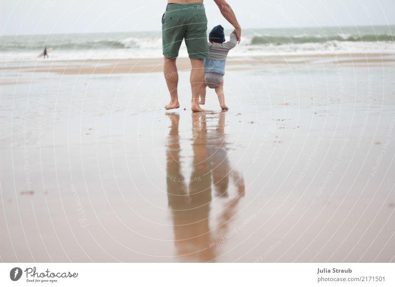 Go Masculine Feminine Baby Man Adults 2 Human being 1 - 3 years Toddler 30 - 45 years Nature Sand Water Summer Waves Coast Beach Ocean Atlantic Ocean Pants