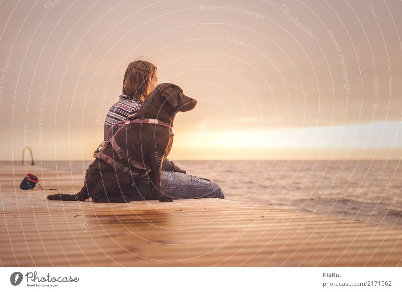 Human being Woman Sky Nature Dog Youth (Young adults) Young woman Summer Water Landscape Ocean Relaxation Animal 18 - 30 years Adults Warmth