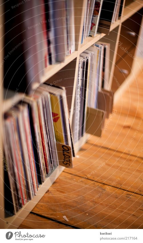 oldies Living room Music Record Floorboards Listen to music Disc jockey Old Colour photo Interior shot Close-up Detail Deep depth of field Collection Arrange