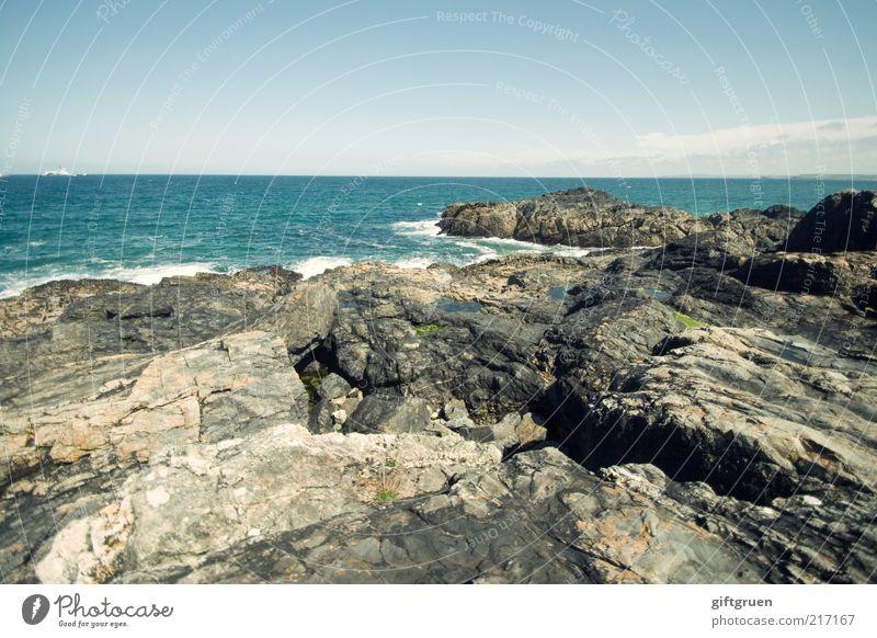 rocky coast Environment Nature Landscape Elements Water Sky Climate Beautiful weather Coast Ocean Rock Stony Stone Rocky coastline Horizon Waves Extensive
