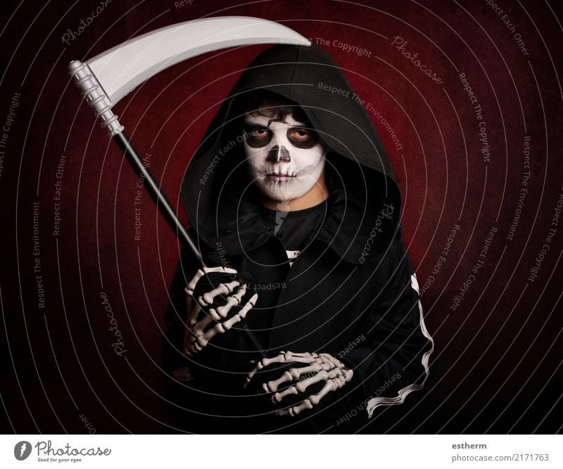 Boy in Halloween .Boy dressed as a skeleton Child Human being Dark Lifestyle Emotions Boy (child) Death Party Feasts & Celebrations Fear Masculine Infancy