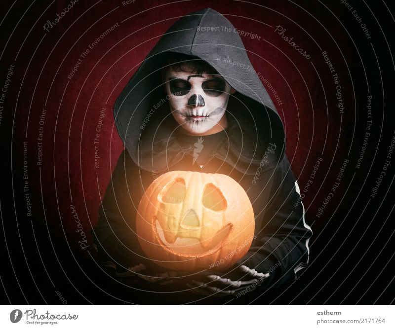 Boy in Halloween .Boy dressed as a skeleton Lifestyle Entertainment Party Event Feasts & Celebrations Carnival Hallowe'en Human being Masculine Child Toddler