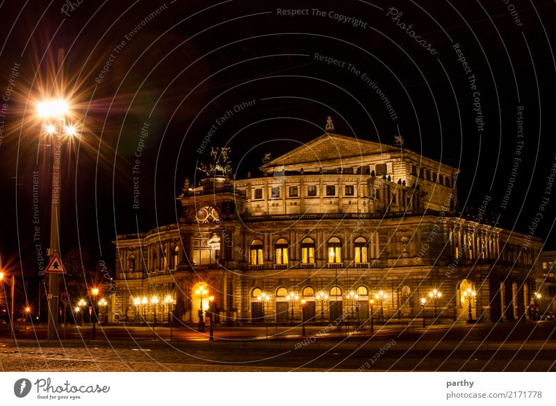 Semper Opera at Night Town Tourist Attraction Landmark Listening Vacation & Travel Looking Colour photo Exterior shot Deserted Long exposure Central perspective