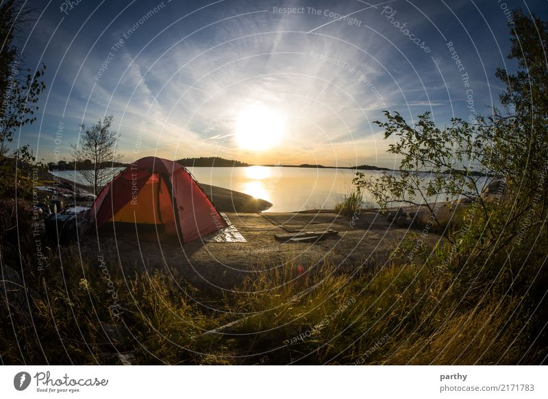 Scenic tent spot Vacation & Travel Tourism Adventure Freedom Camping Summer Summer vacation Ocean Island Nature Landscape Earth Water Sky Clouds Sun Sunrise