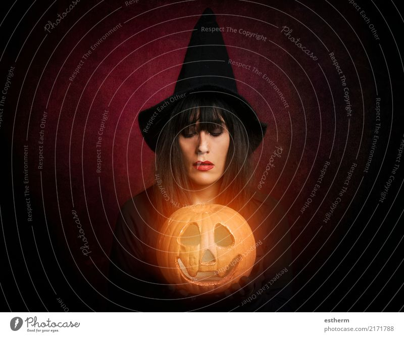 Beautiful woman like witch with pumpkin in Halloween Lifestyle Party Event Feasts & Celebrations Hallowe'en Human being Feminine Young woman